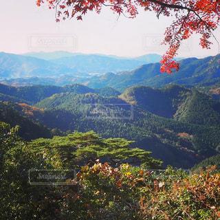 背景に広い山の眺めの写真・画像素材[3036596]