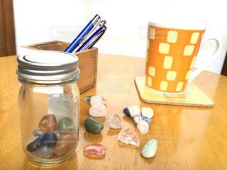 テーブル,ペン,リラックス,カップ,デスク,石,パワーストーン