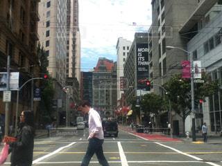 風景,建物,海外,道路,観光地,都会,道,人,高層ビル,歩道,サンフランシスコ,通り