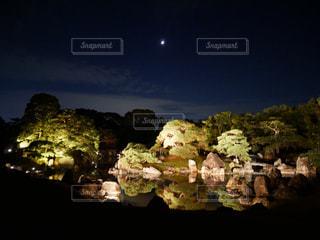 自然,夜景,暗い,水面,月