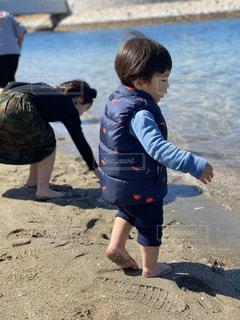 子ども,家族,砂浜,幼児,遊び場