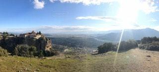 自然,風景,空,海外,雲,山,景色,岩,教会,ギリシャ,メテオラ,フォトジェニック