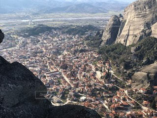 自然,風景,空,街並み,山,岩,旅行,ギリシャ,谷,メテオラ,眺め,フォトジェニック