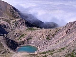 自然,風景,空,湖,白,雲,青,水面,霧,山,岩,雲海,ハイキング