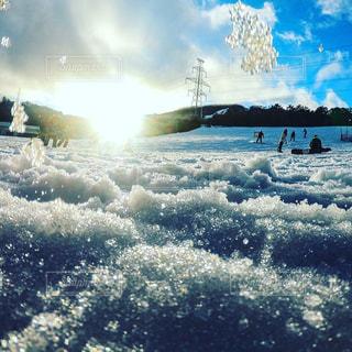 空,夕日,雪,ゲレンデ,スノーボード