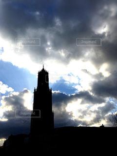 空,屋外,雲,暗い,タワー,くもり