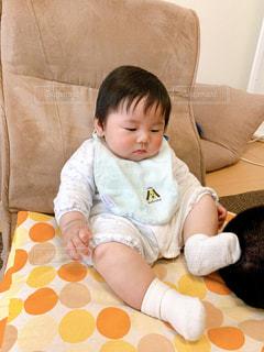 ソファに座る男の子の写真・画像素材[3205928]