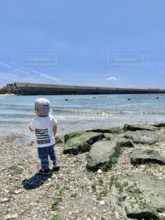 海辺に立つ男の子の写真・画像素材[4518295]