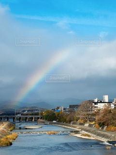 冬,京都,雲,青,虹,レインボー,鴨川,晴れ間