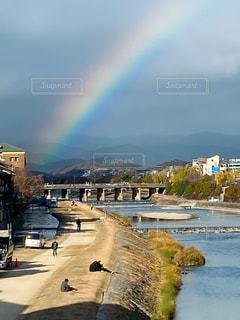 空,冬,虹,レインボー,河川敷,雨上がり,鴨川,晴れ間