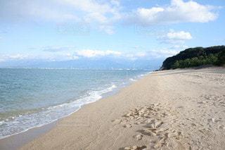 自然,風景,海,空,ビーチ,青,砂浜,散歩,海岸,足跡,旅行,瀬戸内海,四国,愛媛,国内旅行