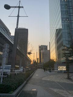 空,建物,夕日,東京タワー,屋外,タワー,都会,道,高層ビル