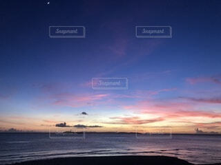 風景,太陽,夕焼け,海岸,地平線