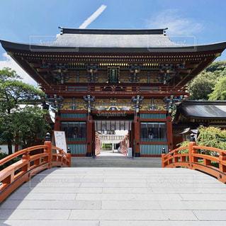 空,建物,屋外,神社,オレンジ,旅行,草木