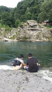 子ども,家族,2人,仲良し,旅行,夏休み,川遊び
