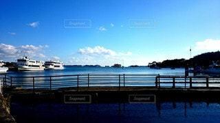 風景,海,空,屋外,青空,船,水面,桟橋,眺め