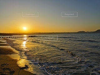 夕日,砂浜,夕暮れ,海岸,サンセット