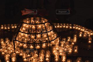 夜,幻想的,ランタン,キャンドル,照明,たくさん,明るい,点灯,燭台