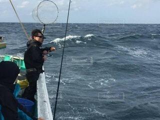 初の真鯛釣りの写真・画像素材[3733983]