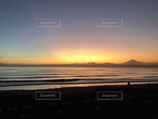 自然,風景,海,空,富士山,屋外,ビーチ,砂浜,夕暮れ,海岸,夕方,湘南,神奈川