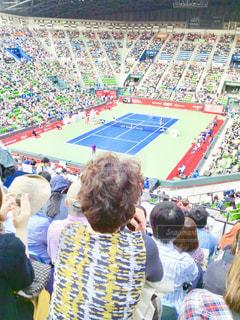 テニスの観戦は、みんなプレー中はじっと集中して選手を見つめているのが、なんか良いです。の写真・画像素材[1292245]