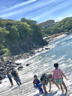 夏休み、田舎の海で海遊びの写真・画像素材[1395225]
