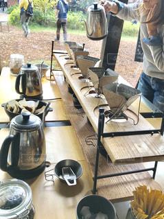 アウトドア用品のお店のカフェで、ドリップ珈琲のドリンクバーを楽しみました。の写真・画像素材[2251670]