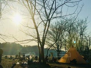 空,冬,屋外,太陽,日差し,シルエット,光,樹木,キャンプ,テント,焚き火,ティーピー