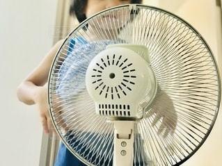 あらあら。確かに暑いけどさ、あんまりお腹に直接扇風機の風を当てすぎると、お腹壊すよ。の写真・画像素材[3504871]