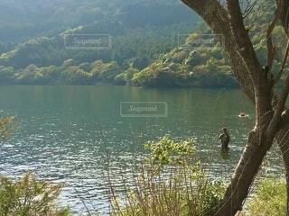 静かな湖でフライフィッシングをする人影の写真・画像素材[3732878]