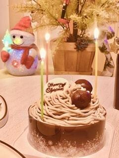 モンブランのクリスマスケーキの写真・画像素材[3806498]
