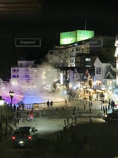 草津温泉の湯畑の夜景の写真・画像素材[4066639]
