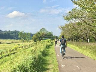 多摩川の堤防の遊歩道を散歩の写真・画像素材[4210894]