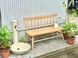 庭のベンチの写真・画像素材[4877297]