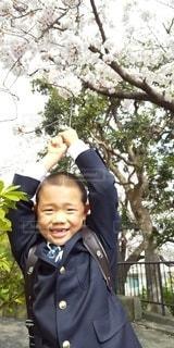 子ども,風景,桜,樹木,人,笑顔,少年,草木,1年生