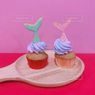 マーメイドカップケーキの写真・画像素材[3075187]