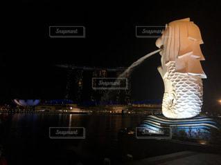 シンガポール旅行マリーナベイサンズ、マーライオンパークの夜景の写真・画像素材[3092616]