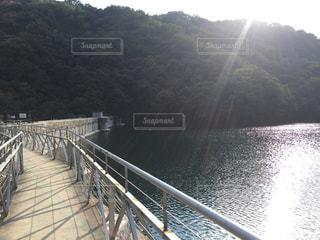 陽がさすダム湖の写真・画像素材[3092105]