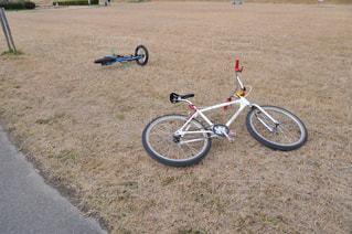 芝生に駐車している自転車の写真・画像素材[3127184]