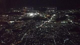飛行機からの夜景の写真・画像素材[3087492]
