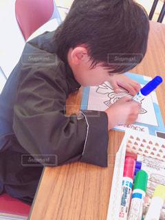 カラフル,ペン,人,デスク,少年,色,手書き,紙,おえかき