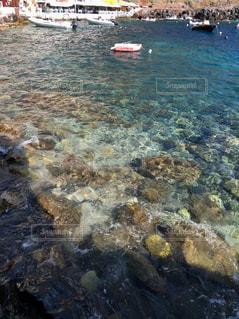 サントリーニ島水面の写真・画像素材[3097437]