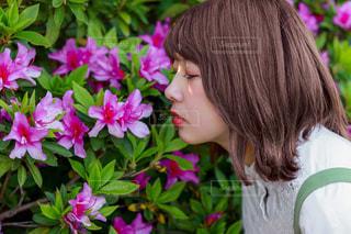 つつじと美少女の写真・画像素材[3215732]