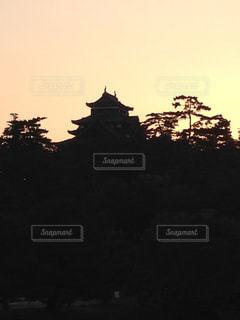 夕日の松江城の写真・画像素材[3115433]