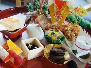 お食い初めのお祝い御前のクローズアップの写真・画像素材[3913124]