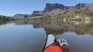 自然,空,屋外,湖,ボート,カヌー,川,水面,アメリカ,山,景色,カヤック,救命胴衣,パドル,車両,水上バイク
