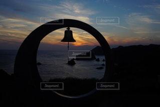 伊豆石廊崎海に沈む美しい夕陽の写真・画像素材[3440140]