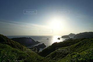 伊豆石廊崎海に沈む美しい夕陽の写真・画像素材[3440161]