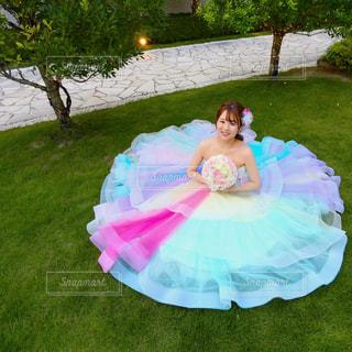 女性,風景,花,屋外,結婚式,レインボー,ドレス,草,樹木,人,笑顔,披露宴,結婚式ドレス