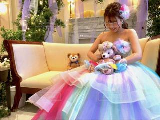 花,屋内,結婚式,レインボー,ライト,ドレス,樹木,人,装飾,披露宴,結婚式ドレス